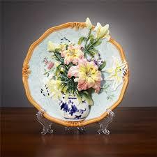 luxury decorative ceramic plate creative handmade painted emboss bird flower hanging lily vase wall modern home