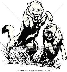 イラスト Lineart 動物 狼 狼 クリップアート切り張りイラスト絵画集