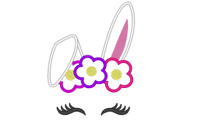 Bunny Face Embroidery Design Bunny Head With Floral Crown Applique Machine Embroidery