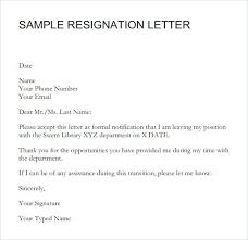 Short Templates Short Resignation Letter Sample Templates For Resignation Letters