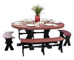 4x6 oval dinner table with benches