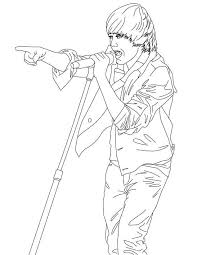 Small Picture coloring page of justin bieber while singing Coloring Point