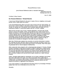 Sample Of A Character Letter Personal Recommendation Letter Sample Character Reference For A