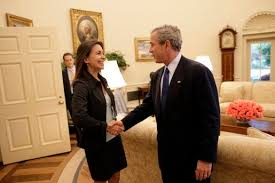 george bush oval office. President George W. Bush Welcomes Maria Corina Machado, The Founder And Executive Director Of Sumate, An Independent Democratic Civil Society Group In Oval Office A