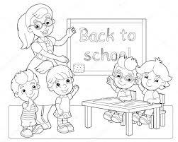 De Kleuren Pagina Het Klaslokaal Illustratie Voor De Kinderen
