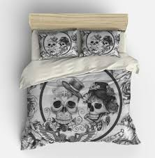 Skull Bedroom Decor Skull Bedding Duvet Comforter Cover Set Black White Day Of