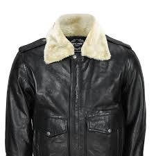 new mens real leather us air pilot er jacket removable fur collar black