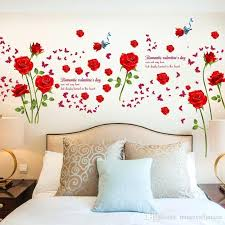 flower wall decals fashion romantic rose flower wall sticker flower vines erfly lettering art sticker wall decor nursery decal for removable stickers