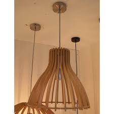 wooden pendant light white wood colour 350mm Ø e27
