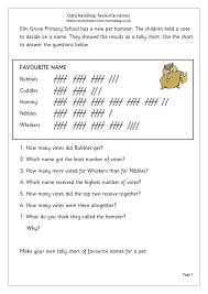 Tally Chart Worksheets Grade 4 Tally Chart Favorite Names Worksheet For 2nd 3rd Grade