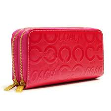 Coach In Signature Large Fuchsia Wallets 22976