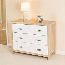 Bianco Oak Effect White Wood 3 Drawer Chest Of Drawers Modern Bedroom  Furniture