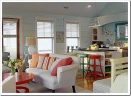orange accents in white & pale blue kitchen MyHomeIdeas