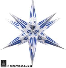 Hartenstein Christmas Star For Inside Use White Blue With Silver 68 Cm 27 Inch