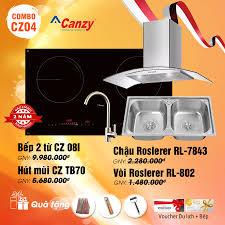 Combo Bếp hai từ Canzy CZ08I và Máy hút mùi Canzy CZTB70 và Chậu Roslerer  RL-7843 vòi Roslerer RL-802
