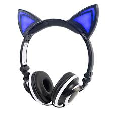 <b>LEEHUR Cat</b> Ear <b>Headphones</b> Wired 3.5mm <b>Earphone</b> Foldable ...