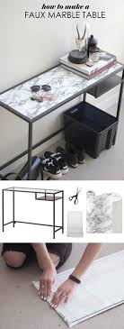 How to make a faux marble table or surface with contact paper. Simple Ikea  hack