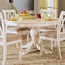 antique white round dining table with wood and chairs set remodel 17