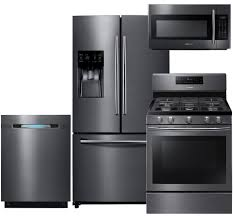 Black Kitchen Appliance Package Lg And Samsung Black Stainless Steel Kitchen Appliance Suites On