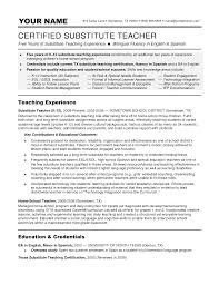 Substitute Teacher Resume Job Description Elementary Education