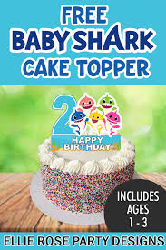 free baby shark blue cake toppers