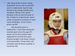 taekwondo is my favourite sport