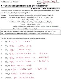 writing and balancing chemical equations worksheet answers writing