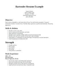Bartending Resume Objective Resume For Bartenders Bartender Resume