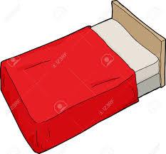 Single Hand Drawn Cartoon Bed With Headboard Royalty Free Cliparts