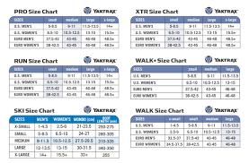 Yaktrax Pro Size Chart Yaktrax Sizing Activelifestore Com