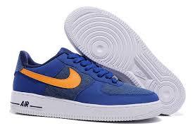 nike air force 1 basse. Nike Air Force One Basse Tempête Bleu Orange Vif - Homme Chaussures De Basket 488298- 1