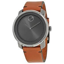 movado bold grey dial brown leather men s watch 3600366