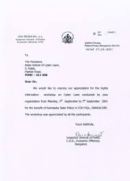 Letter Of Thanks From Inspector General Of Police C O D Economic