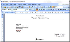 Invoice Example Word Sequentially Numbered Invoice Template For Ms Word