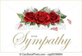 Condolenses Card Condolences Sympathy Card Floral Red Roses Bouquet And Lettering