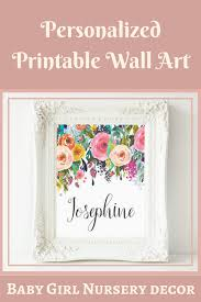 >personalized printable wall art custom name printable art baby  personalized printable wall art custom name printable art baby girl nursery decor nursery