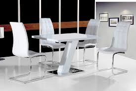 grazia white high gloss contemporary designer 120 cm pact dining table only 4 white