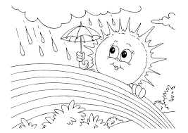 Small Picture Rainbow And Sun In The Rain Coloring Pages For Kids P5