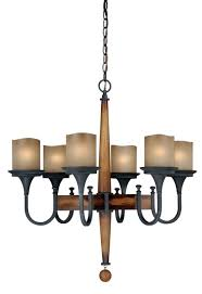 vaxcel lighting h0026 meritage 6 light chandelier in charred wood and black iron with antique cream glass