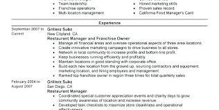 Fast Food Manager Resume Sample Bartender Resume Template Restaurant