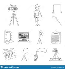 Design Attributes Making A Movie Outline Icons In Set Collection For Design