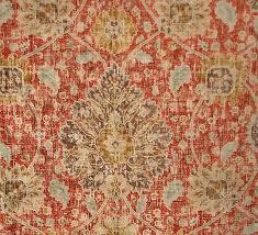 vintage persian rug fabric orange blue chenille velvet upholstery sample cut