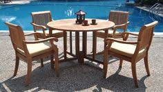 browse a list of the best outdoor teak dining sets new 5 pc luxurious gradea set round butterfly table and 4 arbor arm stacking chairs teak patio set u2