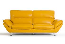 divani casa daffodil modern yellow italian leather sofa set