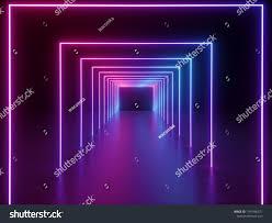 Neon Light Spectrum 3d Render Ultraviolet Neon Square Portal Glowing Lines