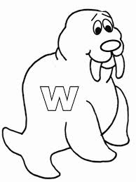 Small Picture Letter W is for Walrus Coloring Page Letter W is for Walrus