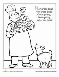 Small Picture Nursery Rhyme Coloring Hot Cross Buns Worksheet Educationcom