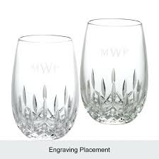 1 of 2 waterford stemless wine glasses huntley red white pair
