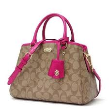 Womens Coach Bleecker Coach Signature Mini Margo Carryall Shoulder Bag Small  Crossbody Khaki Pink Ruby Coach Satchel ...