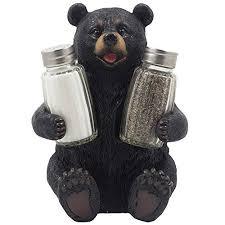 Teddy Bear Display Stands Decorative Black Bear Glass Salt and Pepper Shaker Set with Holder 75